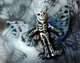 OOAK Skeleton Day of the Dead Dolls tiny 2 and 3 quarter inch high pin