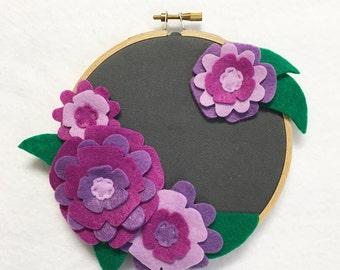 Fabric Wall Art, Embroidery Hoop Art, Pretty in Purple, Nursery Decoration, Floral Wall Decor, Hoop Wall Hanging, Felt Flower Hoop