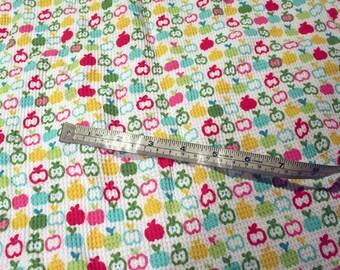 rainbow apple print thermal stretch knit - 1 yard