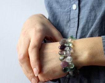 Rainbow Fluorite Bracelet . Mental Health Jewelry . Healing Bracelet . Chunky Gemstone Bracelet Beaded Teardrop - Chakra Collection