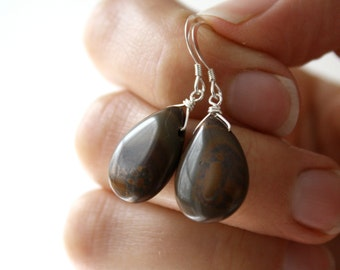 Brown Jasper Earrings . Brown Stone Earrings . Simple Drop Earrings . Large Teardrop Earrings Sterling Silver - Tranquility Collection