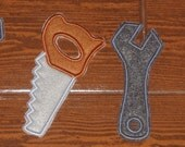 Felt hand tools, 5 inch tall felt pretend play hand tools (4 pieces)