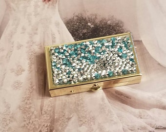 Stash/Pill Box/Silver And Turquoise