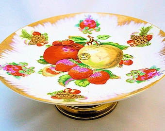 Sale 50% Vintage Napco Pedestal Compote, Fruit Plate on Pedestal, Hand Painted Napco Serving Plate
