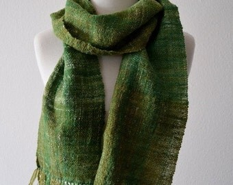 Prefall Sale Handwoven Scarf in Greens - Rustic Handspun Handwoven Hand-Dyed Wool, Nylon, Hemp in Spring Green. New Green, Moss, Olive. Frin