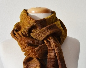 Sale NOMAD Scarf in Tiger's Eye - Handwoven Scarf With Handspun Wool & Bamboo - Brown, Gold, Fringed, Extra Long Boho Scarf. Fall Fashion
