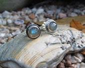 Rose cut Labradorite Sterling Silver Studs, Post Earrings, Labradorite Earrings, Gemstone, Natural Jewelry