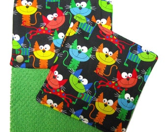 GET A GRIP Jar Gripper, and matching Snap Top Towel, Smiley cats on green towel, Set