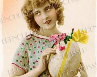 Polka Dots Lady with Huge Egg 1920s 1930s Art Deco Retro Easter Postcard Digital Printable