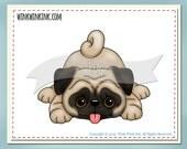 Digital stamp - Pug - playful puppy  printable digi image