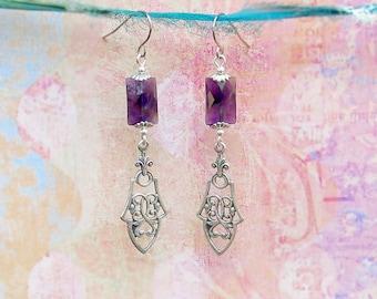 Amethyst earrings purple silver dangle earrings  Gothic jewelry