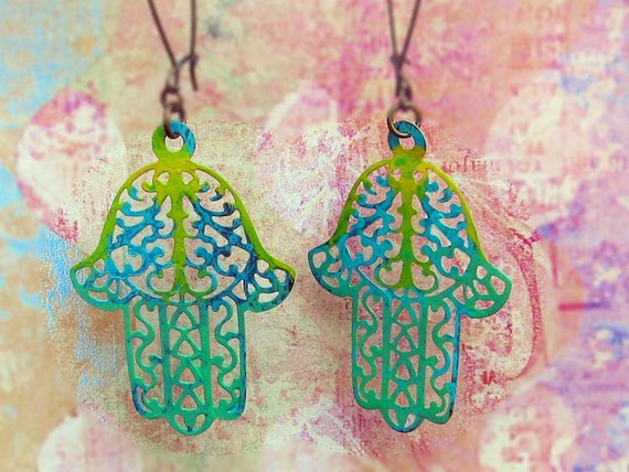 Gypsy earrings hand Fatima Hamsa earrings colorful Boho Jewelry