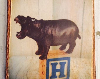 Vintage Toy H is for Hippo Art/Photo - Wall Art 4x6