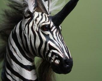 "OOAK Fantasy Kirin Ki Rin Zebra Unicorn Sculpture ""Palinurus"" by Quequinox Art"