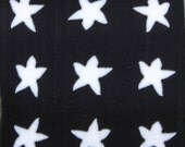 White Stars on Black Square Polymer Clay Cane (44B)
