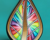 LARGE Rainbow Tie-Dye Colorburst Polymer Clay Leaf Cane -'Mystical Meadow' (12C)