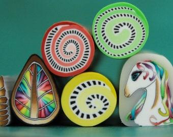 Set of 6 Polymer Clay Mini Canes -'Mystical Meadow' (XX)