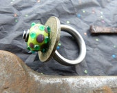 Size 11 Green Lampwork and Riveted Stainless Steel Ring