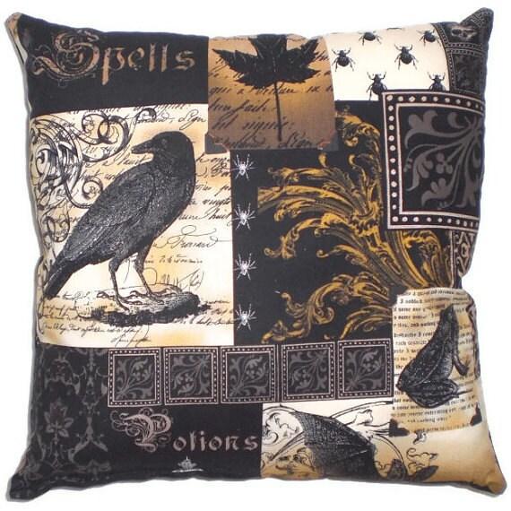 Gothic Raven Decorative Throw Pillow Victorian Steampunk