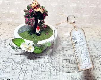 ooak handmade miniature fairy garden specimen under glass dome