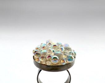 Glass Bubbles Gunmetal Ring