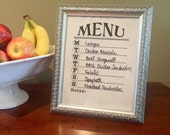 Dry erase menu board - menu planner - framed weekly menu - wet dry erase menu planner - menu planning decor - housewarming bridal shower