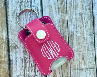 Personalized Monogram keychain fits new BBW hand sanitizer holder monogrammed vinyl custom keychain