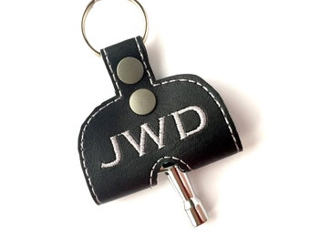 Personalized Monogram Drum Key case, drum key keychain holder monogrammed vinyl