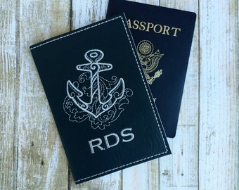 Personalized Passport Cover for Men - Navy Faux Leather Passport Holder - Anchor Motif Passport Cover with Monogram - Travel Gift for Him