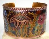 Handcrafted Floral Copper Cuff, Rustic, Boho Cuff,  Etched and Stamped, Hand-Drawn Design, Heat Patina, Spring Flowers- Wildflowers