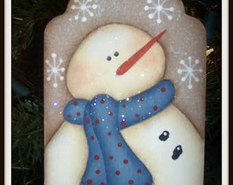 Snowman Wood Hang Tag Holiday Ornament