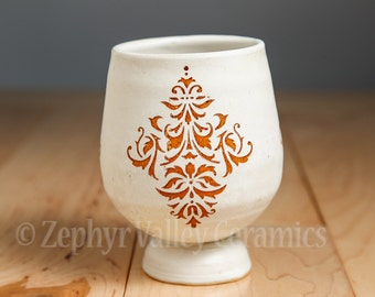 Damask Print Wine Cup - Pottery Tea Bowl - Juice Cup - Pottery Glass - Antiqued Style - White Cup