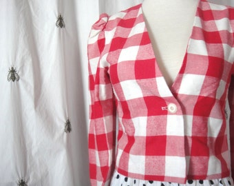ON SALE! Chic Vintage Cropped Red and White Check Blazer, Jacket, Teen Girls, Size 14, Extra Small, Puffy Shoulder Sleeves