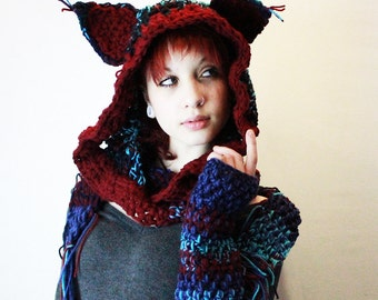 SET Alley Cat Hood scarf fingerless gloves hat chunky Cosplay animal Emo festival vegan Made to order custom colors