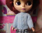 Blythe Blue Cardigan and Socks for Pullip and Vintage Skipper Too