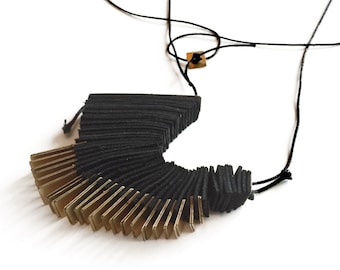 Brass Fringe and Leather Unique Necklace,  Black  Leather Necklace