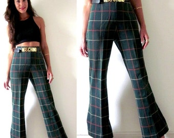 SUMMER SALE / 20% off Vintage 60s 70s Chip Shot High Waisted Green Tartan Plaid Flared Trousers (size small, medium)