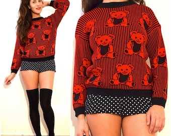 FALL SALE / 20% off Vintage 80s Red and Black Striped Teddy Bear Sweater