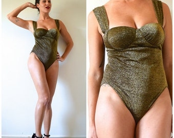 FLASH SALE / 25% off Vintage 80s 90s Golden Girl Metallic Stretch Lurex Leotard (size small, medium)