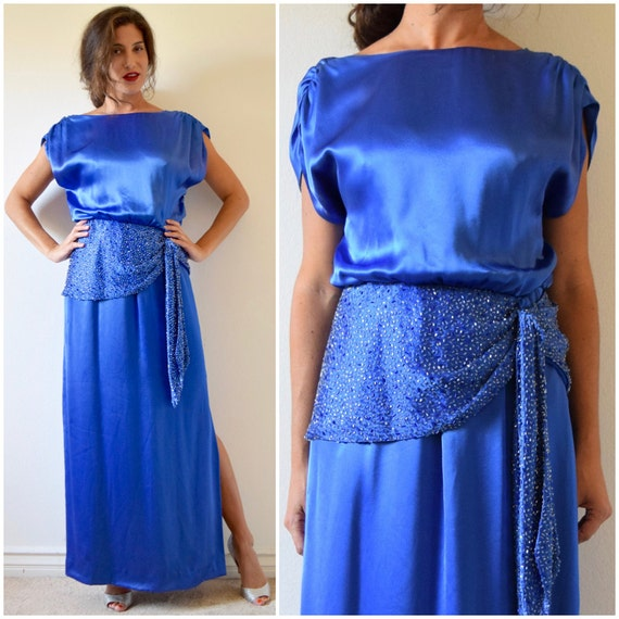 Vintage 80s does 30s Amen Wardy Royal Blue Satin Dropped Waist Beaded Evening Gown (size medium, large)