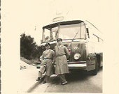 Vintage Antique  old French real photography black & white bus drivers