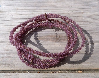 Antique French 1900/1950 Handmade  lillac glass beaded cable/wire/canetille de perles /59 .1 inches