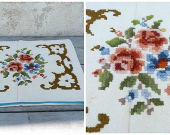 Vintage Tyrol Austria East Europe handmade folk embroidered cross stiched pillow case / floral pattern / cotton