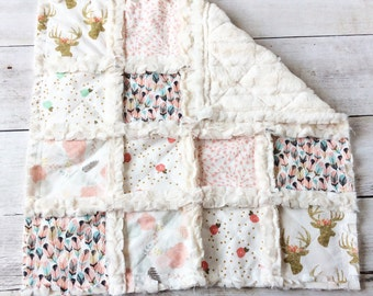 Shabby Chic Rag Quilt Minky Lovey - Gold Deer, Feathers, Flowers, Pink, Mint Green - Baby/Todder Girl Quilt - Stroller Quilt- Baby Girl Gift
