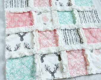 Woodland Minky Rag Quilt Lovey - Coral Lovey with Deer, Arrow, and Floral Prints - Woodland Baby Shower Gift - Gift For Baby Girl