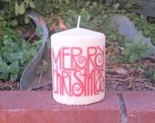 Merry Christmas 3x4 pillar candle