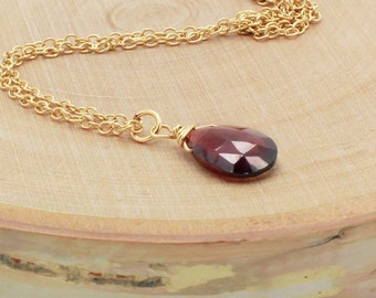Red Garnet Necklace, Mozambique Garnet, January Birthstone, Pendant Necklace, Gold, Rose Gold or Silver