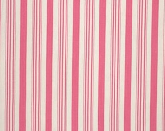 FAT QUARTER, Tanya Whelan Fabric - Barefoot Roses, Legacy Collection, Ticking in Pink, Stripe