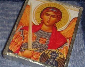 St Michael & Virgin Mary Pocket Travel Icon Handmade inv1642