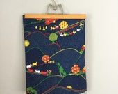 70s 80s Vintage Farm Print Novelty Denim Fabric 66 x 46""